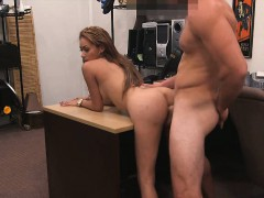 Busty crazy slut pawns her twat and fucked at the pawnshop