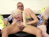Older British dude fucking young blonde slut in stockings