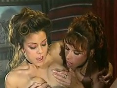 Kinky Lesbian From The West In Threesome