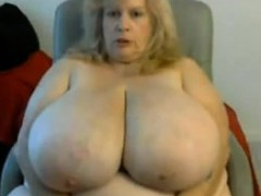 BBW with massive tits playing with her toys