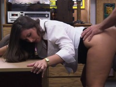 Blonde busty woman tried to trick the owner and gets fucked