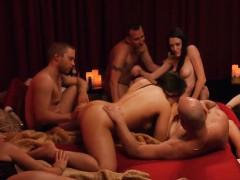 Horny couples swap partners and group sex in the red room