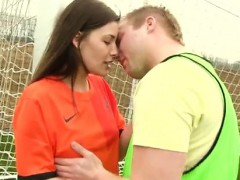 Dirty teen solo Dutch football player poked by photographer