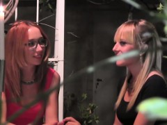Two girls get aroused by a singing lesbian babe