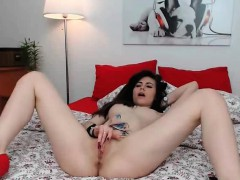 Tiny brunette fingering pussy and dancing