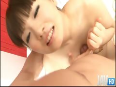 Giggly Akane Ozora has a big smile on her face before she