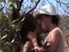 Big ass African tortured and fucked outdoors