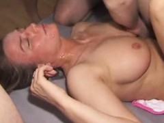 MILF that is amateur gets gangbanged