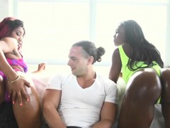 Stretching black girls Tara Fox and Gabriel