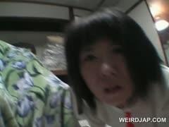 Brunette japanese sex prisoner ass teased in POV style