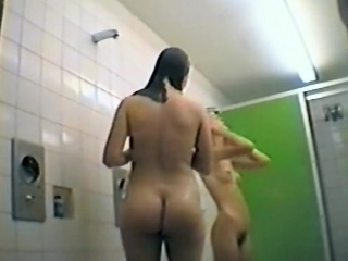 Hairy cuties spied in a public shower
