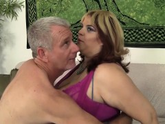 A Grey-haired Dude Licks This Sexy Plumper's Ass And Then