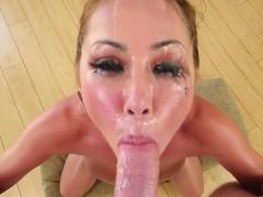 Dicksucking MILF gets her face cum blasted