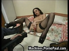 Sexy girl tries out various machines