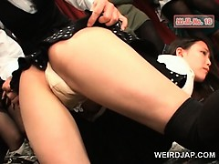 Asian teenage beauties get stripped and pussy teased