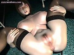 Crazy animated babe getting jizzload