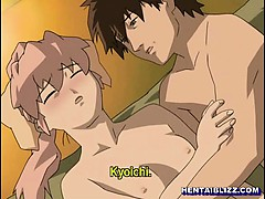 Cute hentai coed wetpussy hard poked in the bed