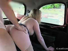 Natural busty blonde fucking in fake taxi
