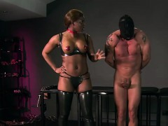 Busty ebony mistress gets cunt licked by her slave