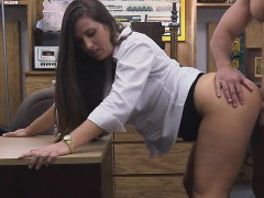 Well Dressed Brunette Banged In The Back of Pawn Shop