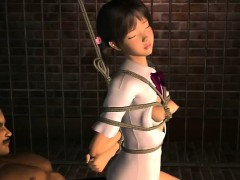 Tied up 3D anime babe gets fucked