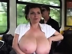 Milking Her Big Breasts In Public On The Bus