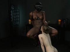 Busty white slave licks black cunt