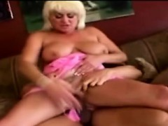 Big boobed 60yo blondie devours a younger thugs huge dong