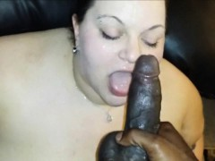 Chubby chick Interracial cocksucking