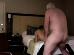 Lucky grandpa gets to fuck a skinny brunette