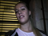 Blonde fucked from behind in public