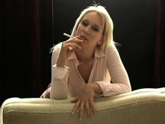 Lusty blonde babe loves having sex while holding a cigarett