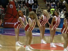 Hot cheerleaders shake their sweet asses in center court at
