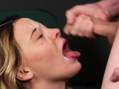 Spicy honey gets cum shot on her face swallowing all the cum