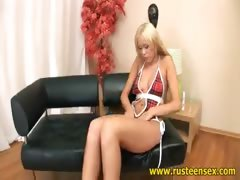Teen blonde with dildo