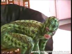Blonde dame in reptile suit