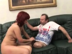 Milf redhead chick fucking handicap husband on the couch