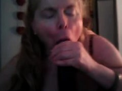 Mature Blonde Shot focusing on the Dark Cock Together with