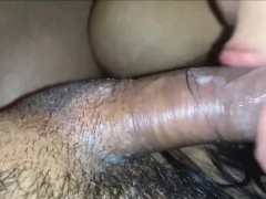 Cleaning Up her Own Pussy Juice from his Cock