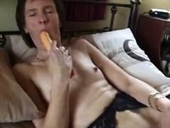 Solo stockings babe masturbates with dildo