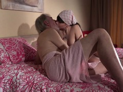 Old Young cleaning lady gets fucked by wrinkled grandpa