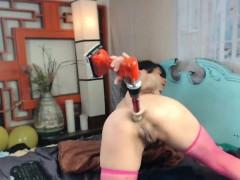 Big boobs wet orgasm huge surprise by anal sex toy