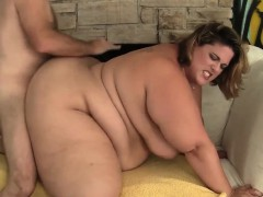 Fat and horny BBW gets kissed on her fleshy tummy and tits
