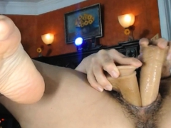 Double And Triple Toying Wet Hairy Pussy