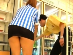 Hot japanese honey gets banged by a stud in a public place
