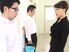 Japanese playgirl gets her large boobs admired and licked