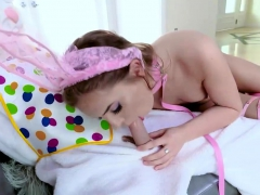Tiny easter bunny babe gives head and gets twat pounded
