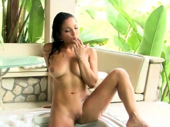 Magnificent Brunette Solo Action in Pool