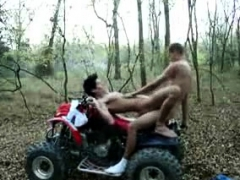 Two hunky gays outdoor