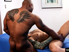 Black Stud Gets Massaged Before Sucking Cock